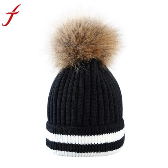 FEITONG Outdoor Winter Hat Women Beanies Unisex pom pom hat Hair Ball Stripe Knitted Hat Mink Raccoon Fur Pompom Female Cap #3 -  - Drako Store