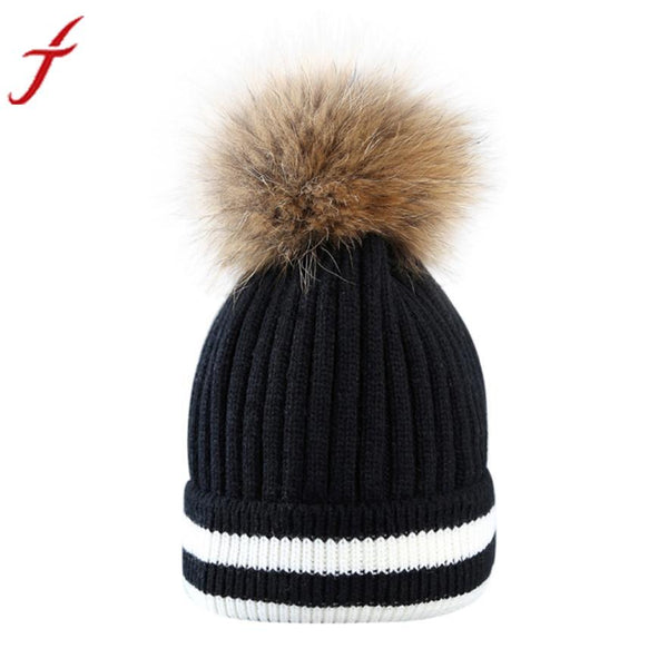 FEITONG Outdoor Winter Hat Women Beanies Unisex pom pom hat Hair Ball Stripe Knitted Hat Mink Raccoon Fur Pompom Female Cap #3