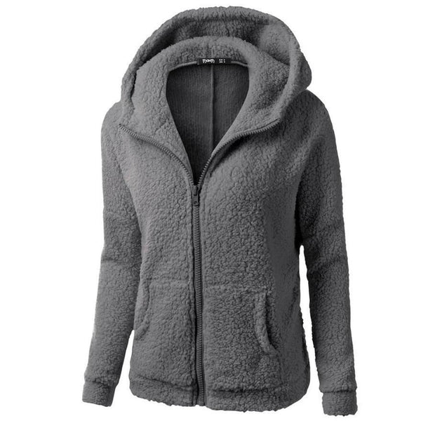FEITONG Women Hooded Sweater Coat Winter Warm Wool Zipper Coat Fashion Pockets Cotton Thick Coat Outwear Plus Size S~5XL#3