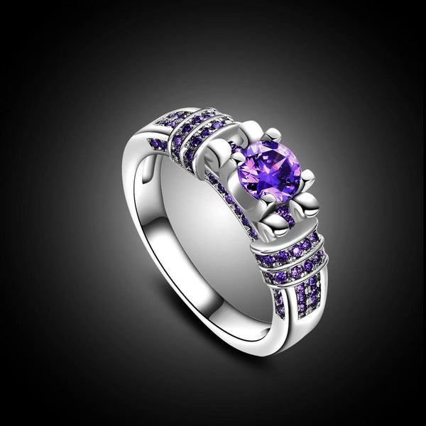 Women Fashion Jewelry Silver Purple Zircon Wedding Ring Size 10