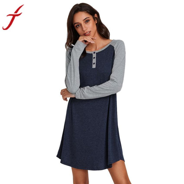 FEITONG Top Brand Autumn Dress Sexy Women Long Sleeve O Neck Casual Fashion Bottons Evening Party Dress Mini Dress vestido