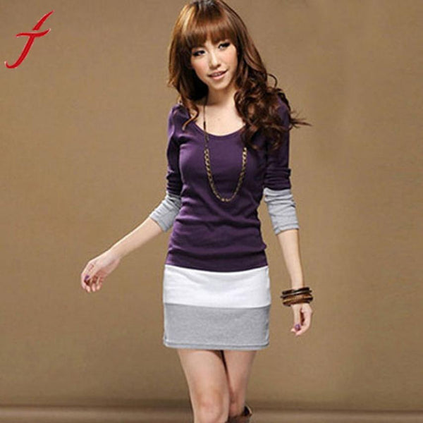 1PC Autumn Dress Womens Casual Long Sleeve Slim Stripe Party A-Line Mini Dress Clothing Sexy Black Purple Bodycon Dress