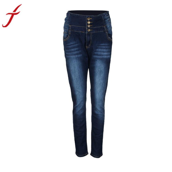 HOT SALE Women Pencil Pants High Waisted Elasticity Jeans Solid Blue Skinny Jeggings Skinny Laies Pants Slim Fit -  - Drako Store