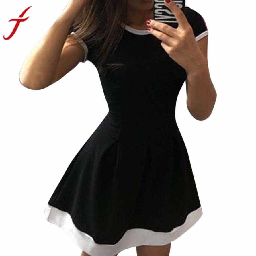2017 Summer Dress Ladies Women Patchwork Slim A line Casual Bodycon Vintage Dresses Vestidos Plus Size Evening Party Short Dress