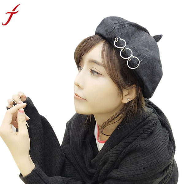 Fashion England Style Women Vintage Lady Mental Ring Embroidery Berets Beret Beanie Hat Cap 5 Colors #LSN