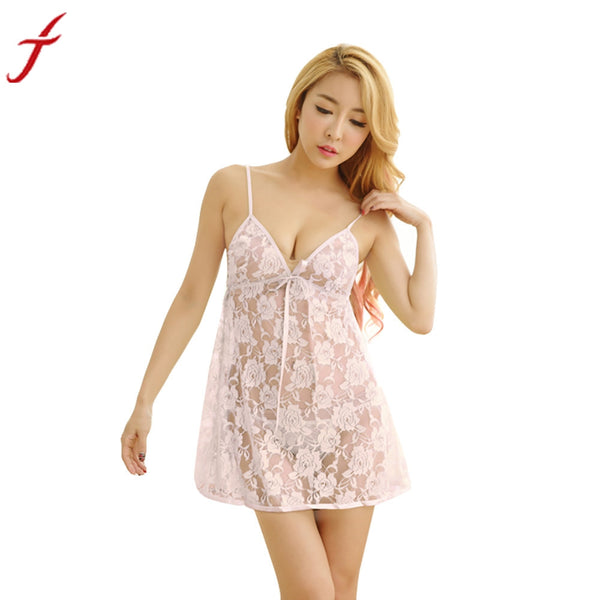 Lace Lingerie Dress With G-string Underwear 2017 Sexy Lady Women Transparent Intimates Sleepwear Crotchless Nightgown #LS