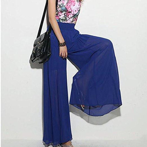 New Lady Wide Leg Chiffon High Waist Pants Long Loose Culottes Trousers Jecksion #LYW