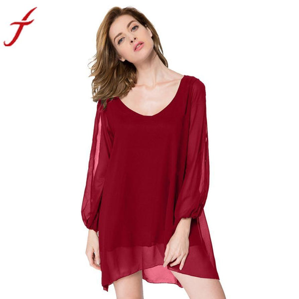 Womens Elegant 2016 Sexy Party Dresses Women Loose wine Red Solid Color Chiffon Wide Collar Mini Dress #LSW