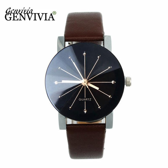 GENVIVIA 2017 Fashion Bijoux Women 1PC Women Quartz Dial Clock Leather Wrist Watch Round Case relogio feminino women watches -  - Drako Store