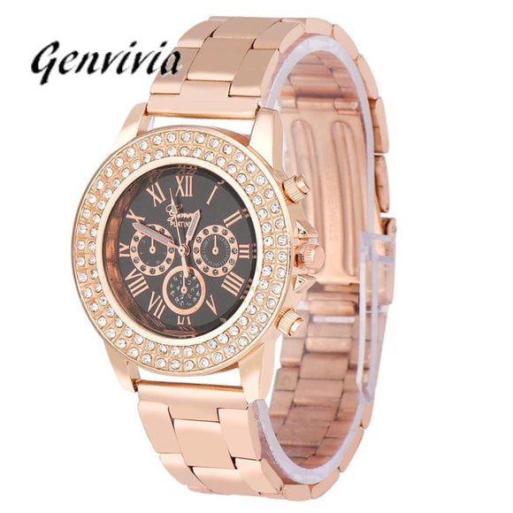 Smilelee 2017 New Fashion Designer Women Luxury Rose Gold Watch Women Brand Watches Chain Women Dress Watch Quartz Ladies Watch -  - Drako Store