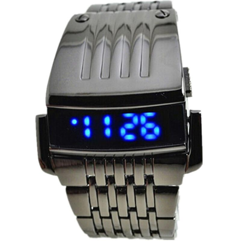 Men Stainless Steel Mens Blue LED Digital Sport Quartz Wrist Watch
