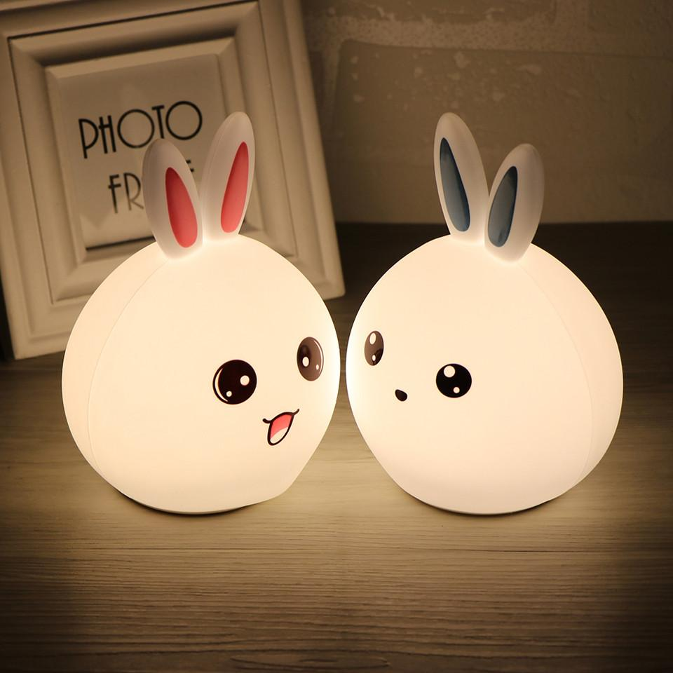 Rabbit LED Night Light Warm Whoite + RGB Tap Control Rechargeable Beside Lamp for Christmas Child Bedroom Lighting with Remote