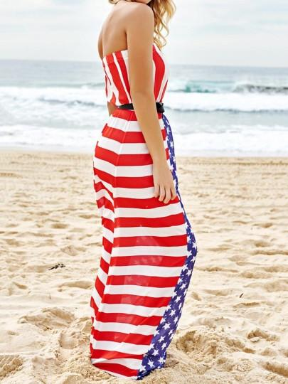 Chiffon American Flag Women's Maxi Dress