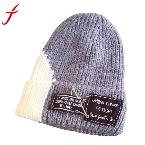 Women Winter Hat 2017 New Arrival Winter Warm Beanie Hats Letters Printed 2 Colors Patchwork Fold Skullies Beanies Female Hat -  - Drako Store
