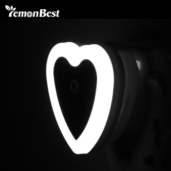 Mini Auto Novelty Night Lamp Heart Shape LED Light Toilet Light Sensor Control Blue Bedside Light Wall Lamp EU US Plug