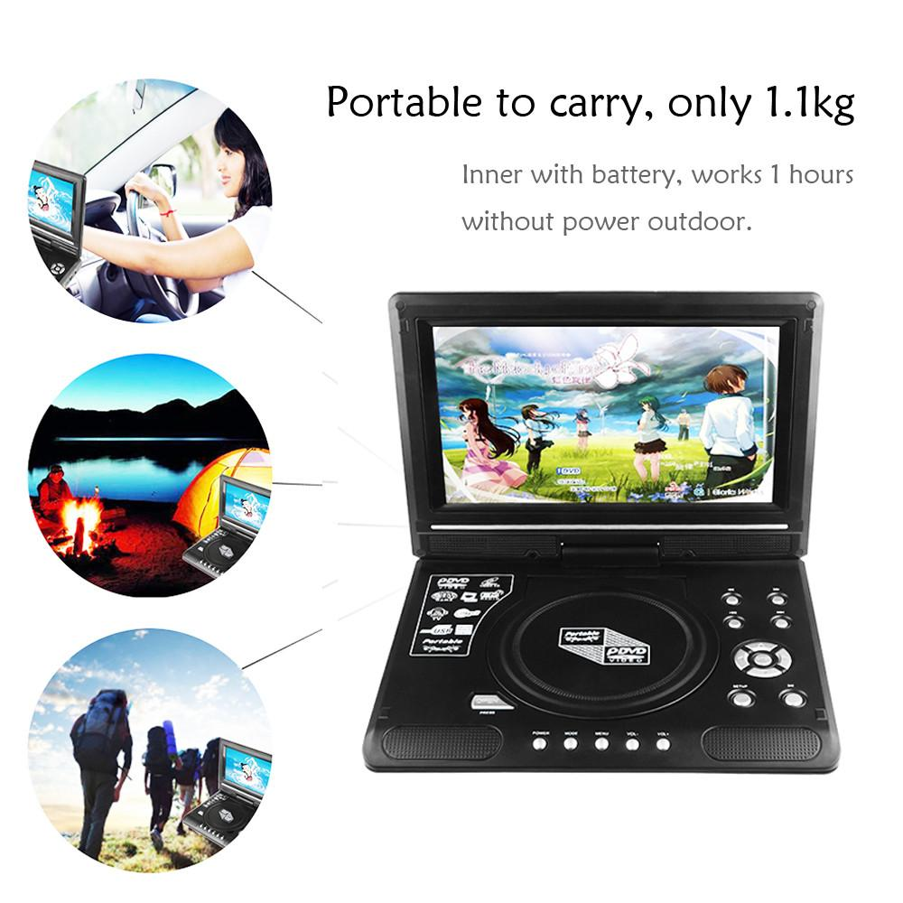 "7.8"" LCD Display DVD Player 270 Degree Portable TV Game Player with USB/SD Card Reader Car Charger FM MP3 MP4 Head-phone Output"