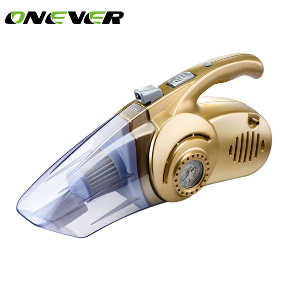 Onever 4 in 1 Wet/Dry Portable Car Vacuum Cleaner 12V 120W Tire Inflator Tire Pressure Gauge & LED Light Tire inflatable Pump