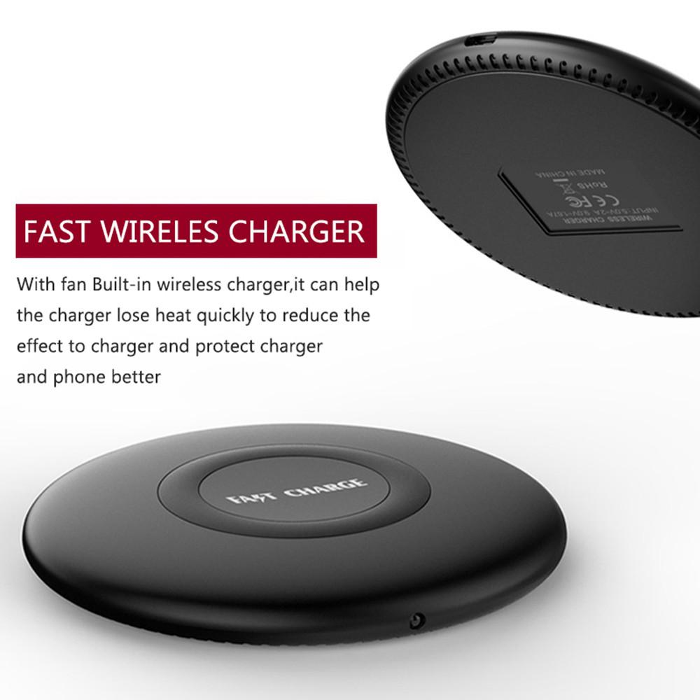 Powstro Fast Wireless Charger With Heat Dissipation Qi Compatible USB Cable Fast Charging For iPhone 8 for Samsung S8 Note 5