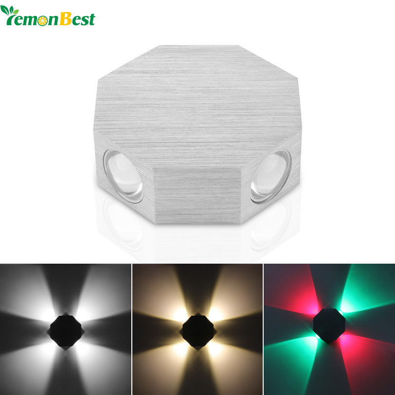 Modern 4W Wall Lamp Aluminum Octagon 4-LED Wall Light for Home Lighting Indoor Outdoor Decoration AC 85-265V