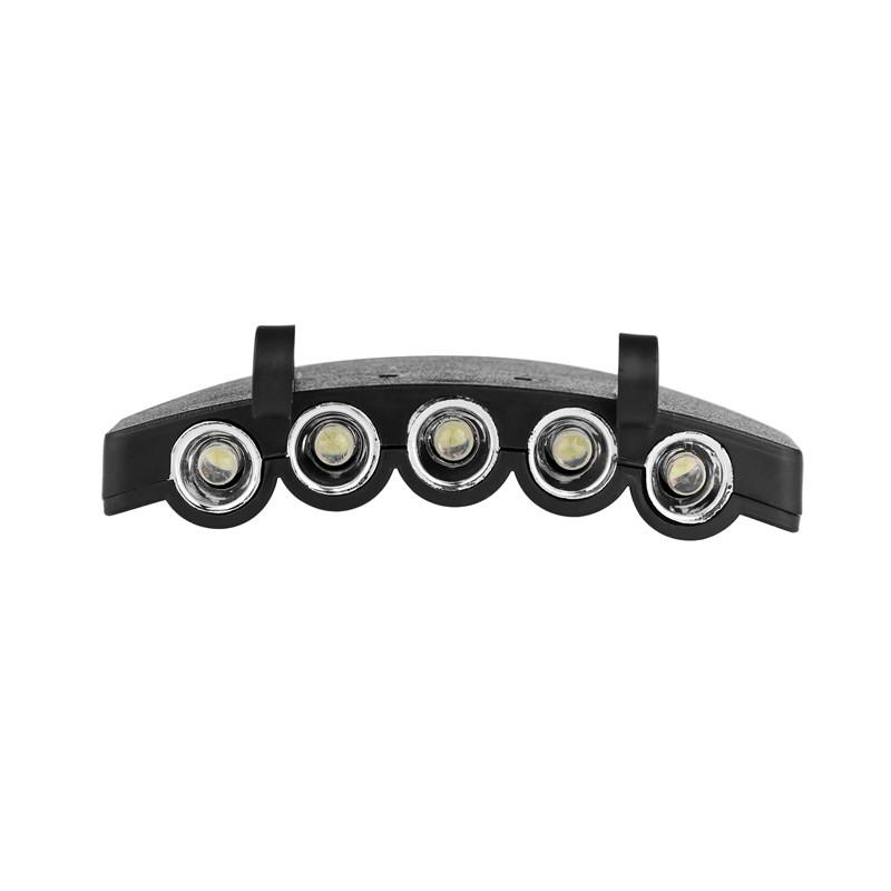 LemonBest Clip-On 5 LED Headlamp Clip Lights Hands-free Cap Hat Headlight Flash / Steady ON