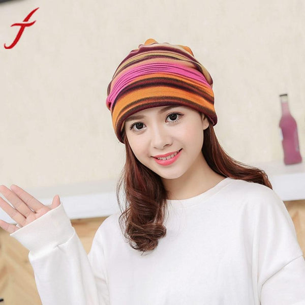 Feitong Winter Beanie Hat Women Stripe Hat Ruffle Cancer Collar Turban Hat Beanies knitted hat the female Fitted Head Wrap Cap#3