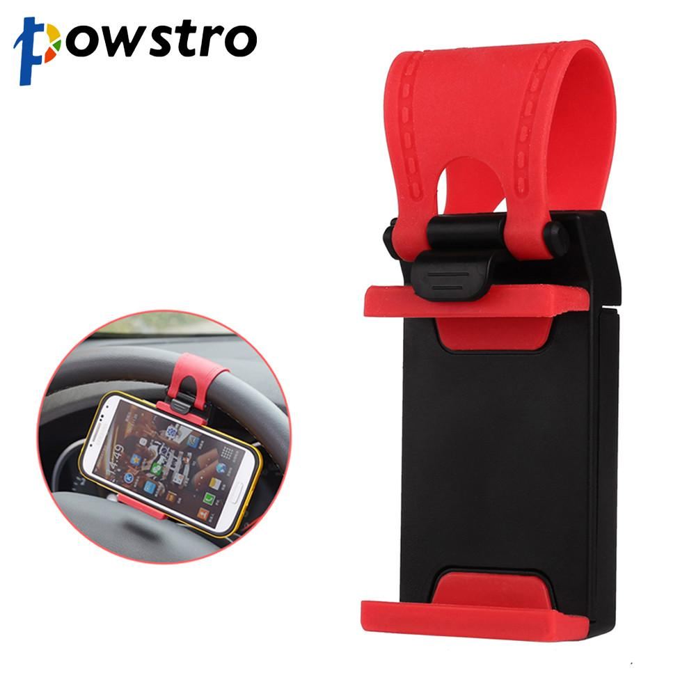 Powstro Car Steering Wheel Phone Holder Clip Silicone Universal Smartphone MP4 Bracket Stand Clip for Samsung Iphone