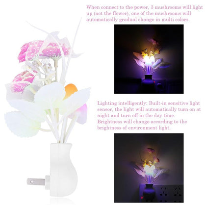 LemonBest Luminaria LED Night Light Lamp Novelty Light Sensor Colorful Nightlights US Plug Mushroom Flower Plant Lilac
