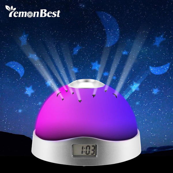Home Decor Colorful Sky Star Children Baby Room Night Light Projector Lamp Alarm Clock sleeping