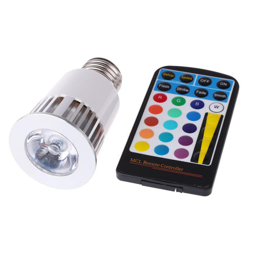 High Power RGB LED Light 5W E27 16 Colors 4 Mode Flashlight Dimmable Spotlight Lamp With Memory Function
