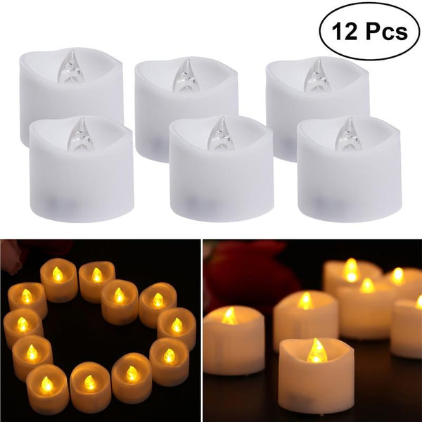 12pcs Realistic and Bright Flameless LED Tea Lights Battery Operated Waved Edge Plastic Candles for Birthday Festival Celebration