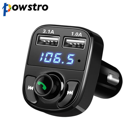 Powstro 5V 4.1A Dual Car charger with Car Kit Bluetooth MP3 Player Hands-free Call Wireless FM Transmitter TF Slot Voltage