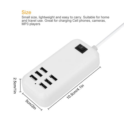 Powstro 6 USB Charger HUB 25W 3A Smart Phone Charge Adapter Wall Charger Fast Charging for Mobile Phone Tablet MP3 4