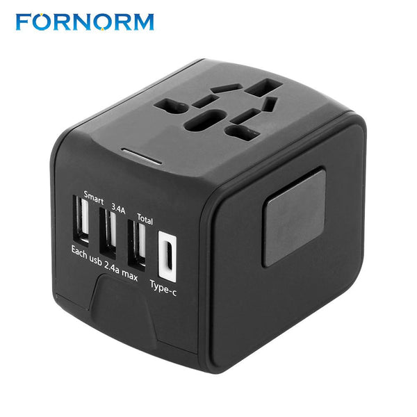 FORNORM 3 USB Port with one type C Travel Adapter International Power Adapter All-in-one 2.4A Wall Charger for US/EU/AUS/UK