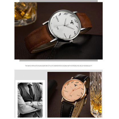 Fashion Faux Leather Mens Analog Watch Watches