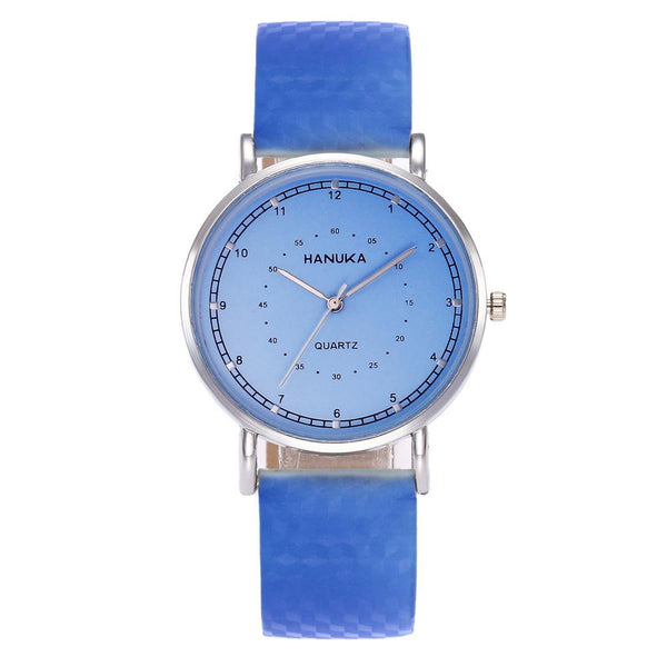 Women Leather Band Analog Quartz Discoloration Watches