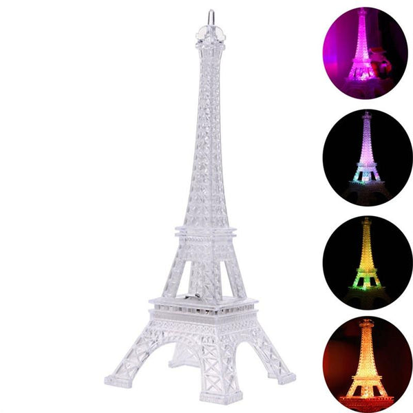 Acrylic Eiffel Tower Flashing LED Colorful Night Light Romantic Atmosphere Nightlight Desk Lamp