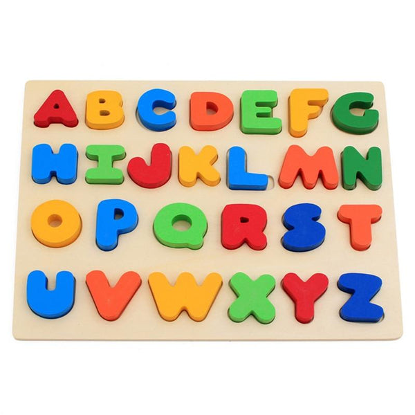 Colorful A to Z Alphabet Capitalized Letters Wooden Puzzles Jigsaw For Toddlers Educational Preschool Toys Game Cognitive Development Recognition Intelligence Toys Kids Gift