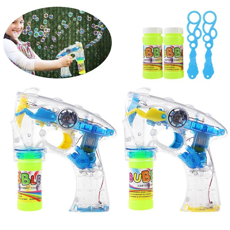 TOYMYTOY 2 Pack of LED Light Up Bubble Gun Bubble Machine Blower Flashing Light and Sound Shooter Blasters Kids Children Party Favors