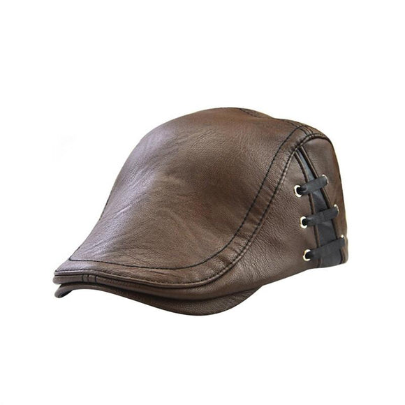 Men's Flat Cap Vintage PU Leather Newsboy Cap Flat Golf Driving Hunting Hat -  - Drako Store