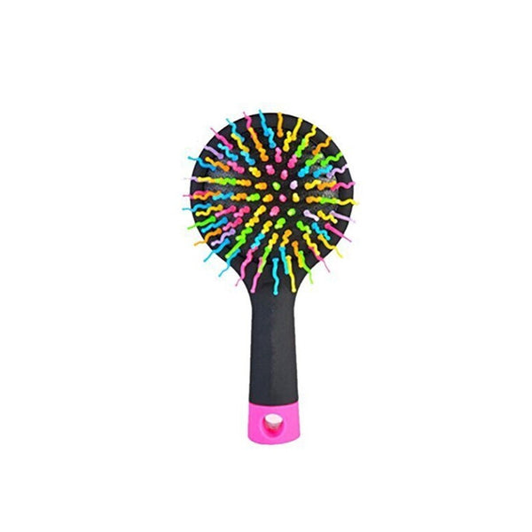 Rainbow Volume Anti-static Magic Hair Curl Straight Massage Comb Brush with Back Mirror