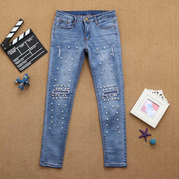 Women Denim High-Waist Ripped Stretchy Hole Pencil Pants Jeans Trousers -  - Drako Store