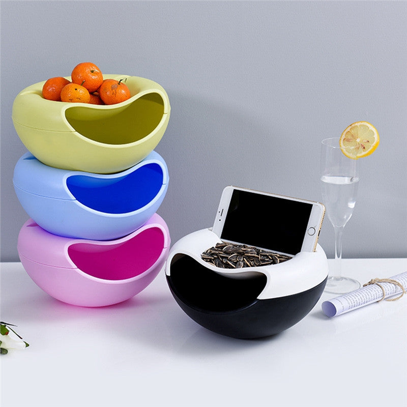 Dual-Layer Snack Storage Box Phone Holder Kitchen Bathroom Shelf Fruit Dish Office Desktop Storage Box