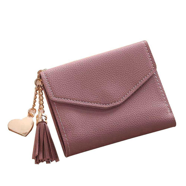 Women Simple Short Wallet Tassel Coin Purse Card Holders Handbag
