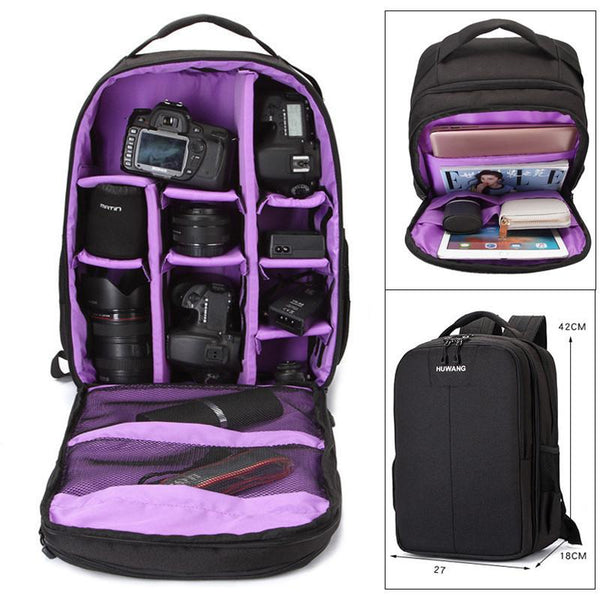 Video Photo New Black Camera Backpack Waterproof Nylon Shoulders Bag Laptop Tripod Casual Travel Tripod Case for Canon Nikon