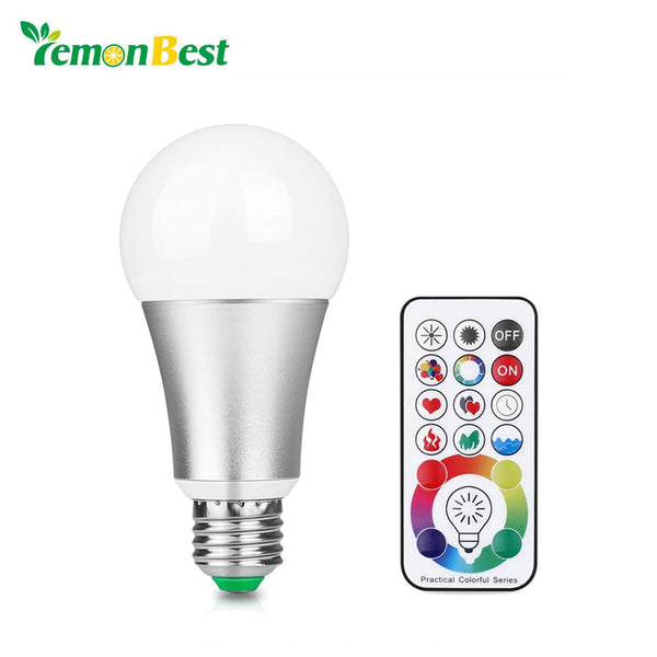 LemonBest 10W RGB W E27 LED Bulb Stage Lamp 220V Aluminum Light 120 Colors Remote Control Memory Function AC 85-265V