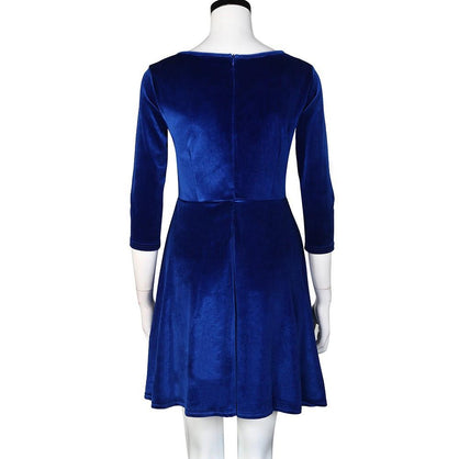 Women Dress Round Neck Velvet Dress Three-Quarters Sleeve Dress