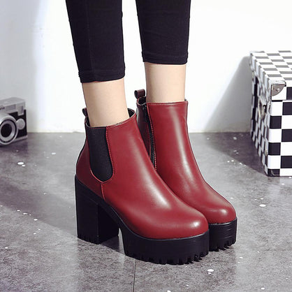 Women Boots Square Heel Platforms Leather Thigh High Pump Boots  Shoes