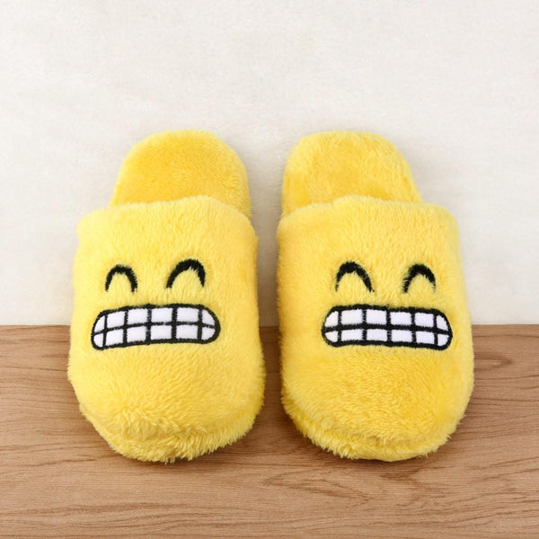 Unisex Emoji Cute Cartoon Slippers Warm Cozy Soft Stuffed Household Indoor Shoes