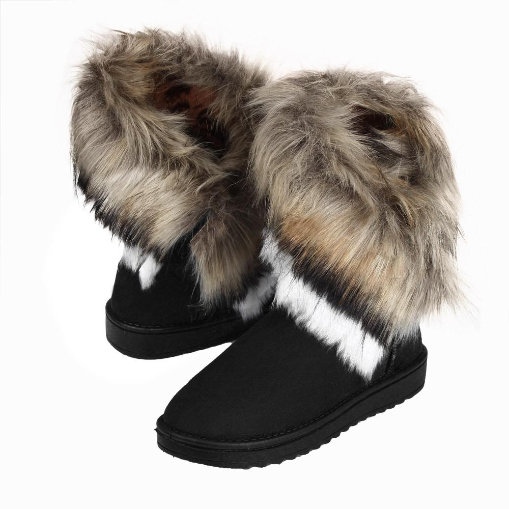 Fashion Women Boots Flat Ankle Fur Lined Winter Warm Snow Shoes