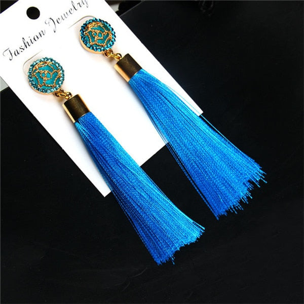 HOCOLE Bohemian Crystal Tassel Earrings Black White Blue Red Pink Silk Fabric Long Drop Dangle Tassel Earrings For Women Jewelry